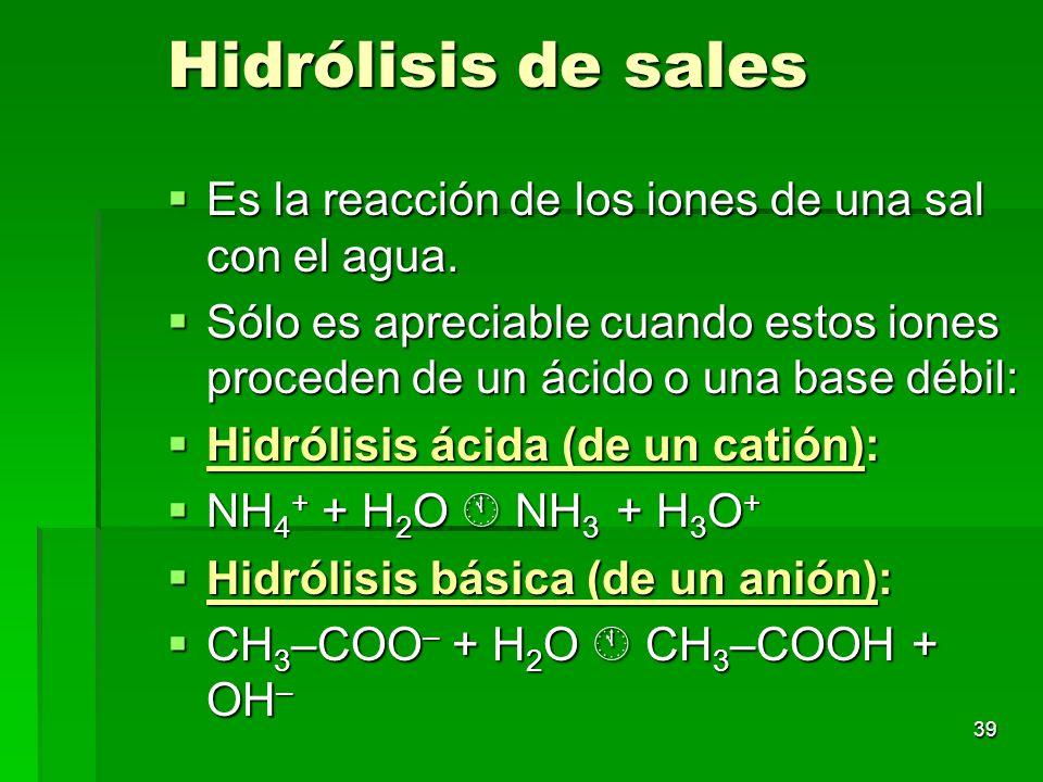 39 Hidrólisis de sales Es la reacción de los iones de una sal con el agua. Es la reacción de los iones de una sal con el agua. Sólo es apreciable cuan