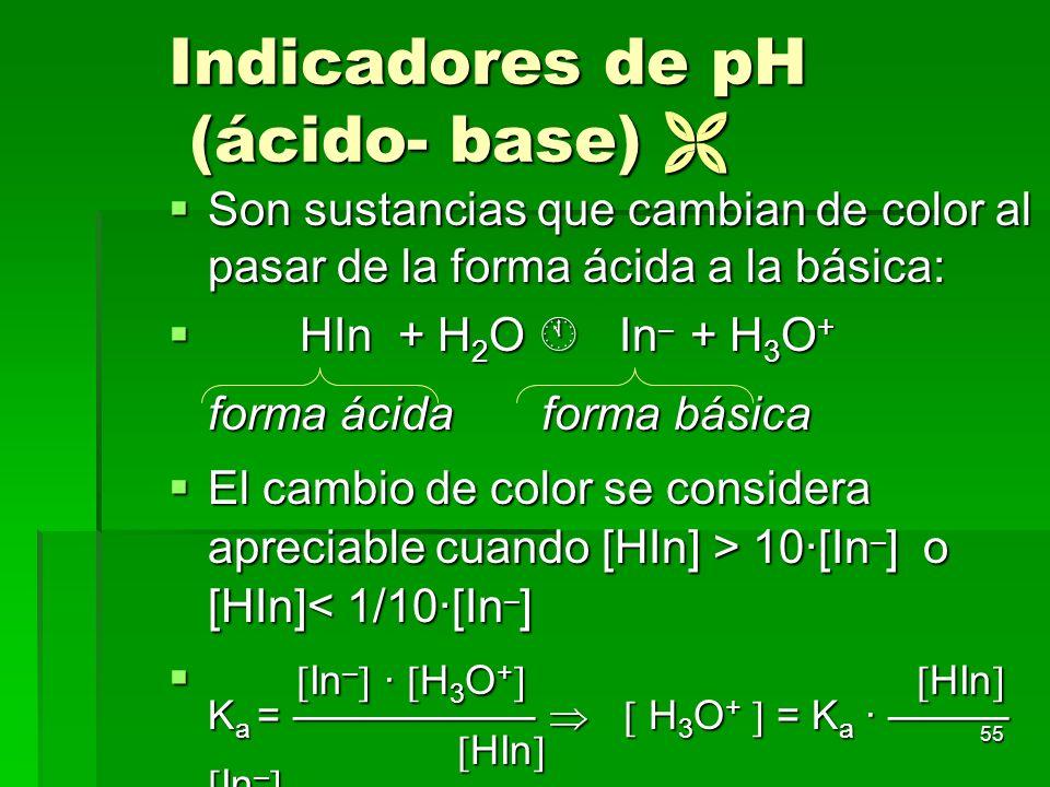 55 Indicadores de pH (ácido- base) Indicadores de pH (ácido- base) Son sustancias que cambian de color al pasar de la forma ácida a la básica: Son sus