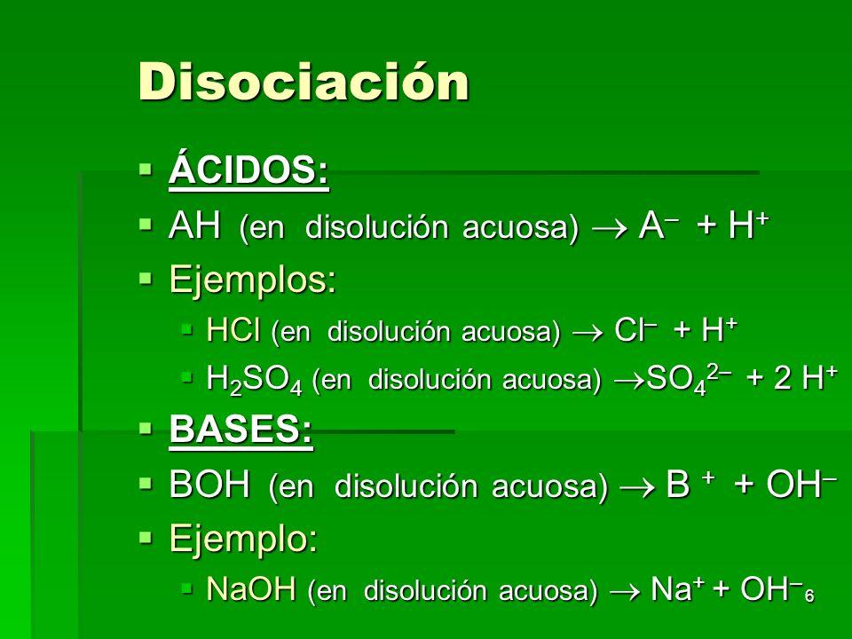 6 Disociación ÁCIDOS: ÁCIDOS: AH (en disolución acuosa) A – + H + AH (en disolución acuosa) A – + H + Ejemplos: Ejemplos: HCl (en disolución acuosa) C