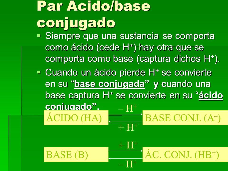 9 Par Ácido/base conjugado Siempre que una sustancia se comporta como ácido (cede H + ) hay otra que se comporta como base (captura dichos H + ). Siem