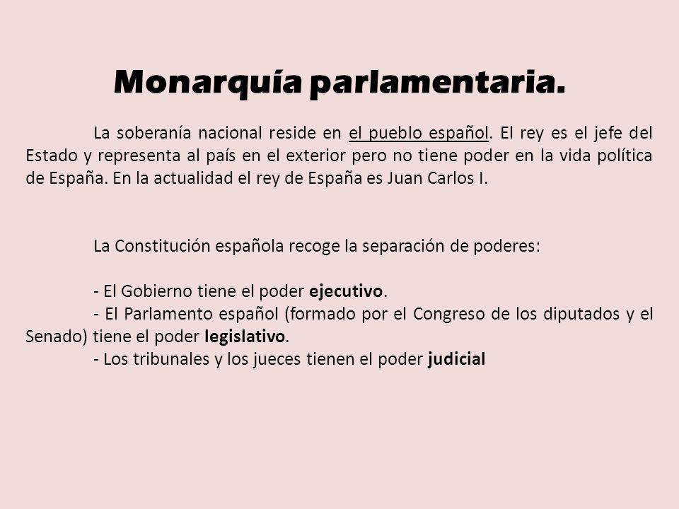Monarquía parlamentaria.La soberanía nacional reside en el pueblo español.