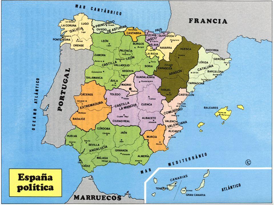 Las provincias.Hay 50 provincias en España que se establecieron en 1833.