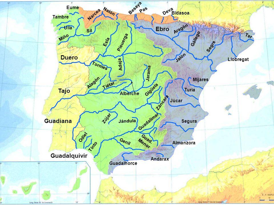Ebro Aragón Gállego Segre Jalón Ter Llobregat Mijares Turia Júcar Segura Almanzora Andarax Guadalhorce Duero Esla Pisuerga Adaja Tormes Tajo Jarama Al