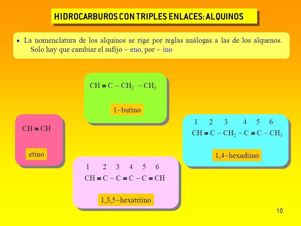 10 HIDROCARBUROS CON TRIPLES ENLACES: ALQUINOS CH C C C C CH 1 2 3 4 5 6 CH C CH 2 C C CH 3 1 2 3 4 5 6 La nomenclatura de los alquinos se rige por re