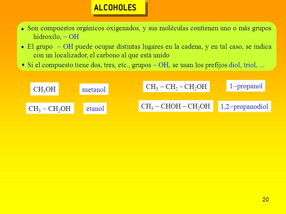 20 ALCOHOLES Son compuestos orgánicos oxigenados, y sus moléculas contienen uno o más grupos hidroxilo, OH El grupo OH puede ocupar distintas lugares