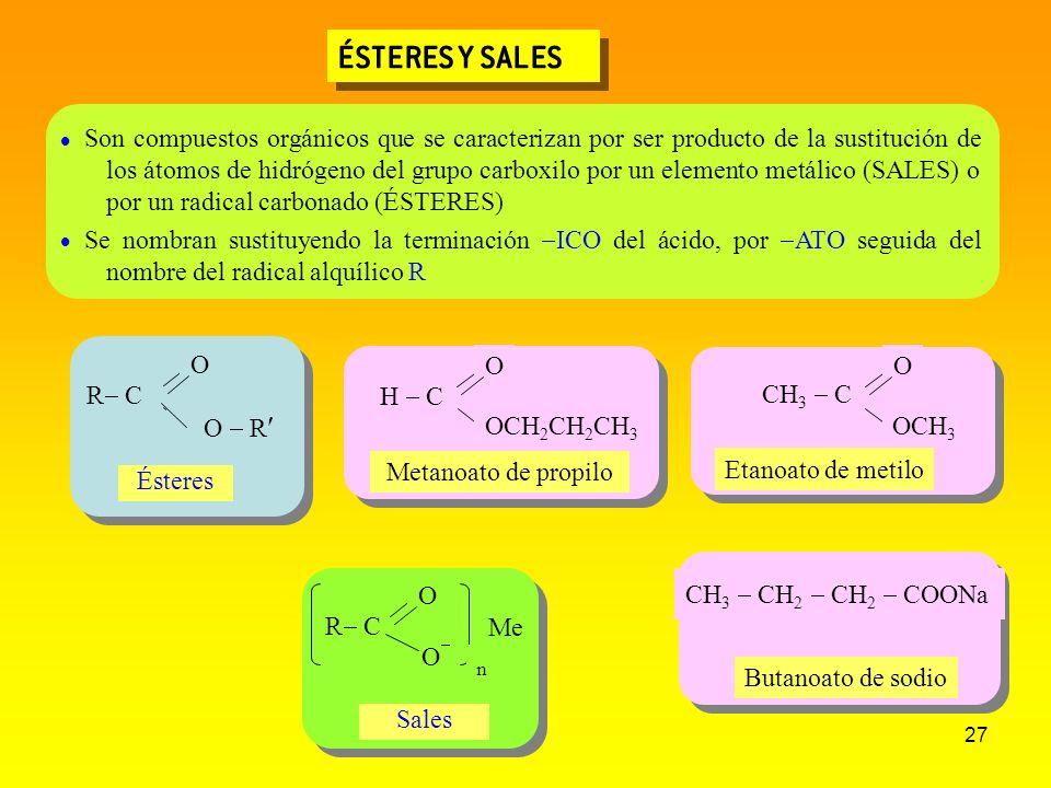 27 ÉSTERES Y SALES CH 3 CH 2 CH 2 COONa CH 3 C O OCH 3 H C O OCH 2 CH 2 CH 3 Metanoato de propilo Son compuestos orgánicos que se caracterizan por ser