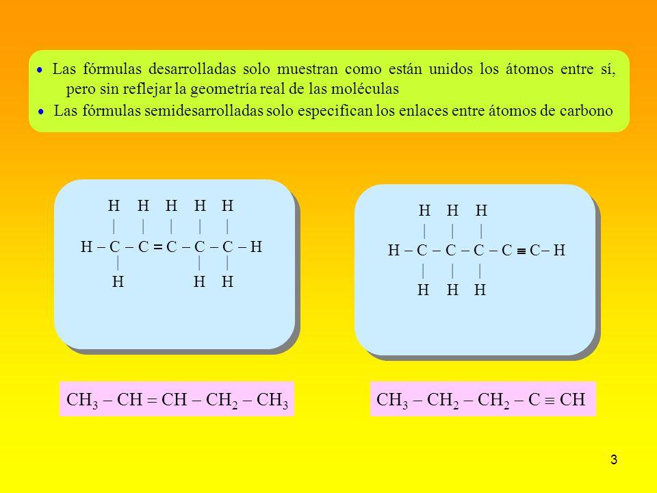 4 La tetravalencia del carbono se debe a que posee 4 electrones en su última capa, de modo que formando 4 enlaces covalentes con otros átomos consigue completar su octeto C H HH H CC H H H H CC HH Metano CH 4 Eteno CH 2 Etino CH