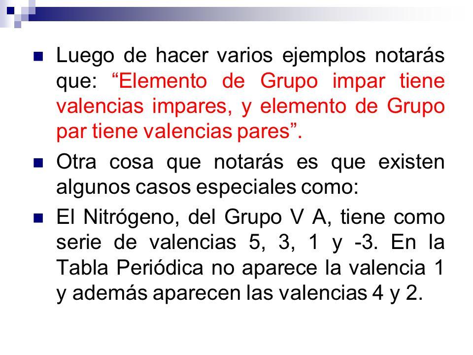 Luego de hacer varios ejemplos notarás que: Elemento de Grupo impar tiene valencias impares, y elemento de Grupo par tiene valencias pares. Otra cosa