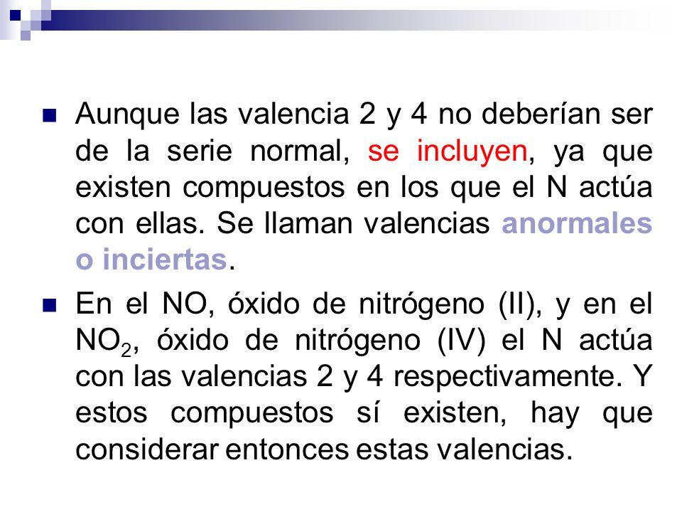 Aunque las valencia 2 y 4 no deberían ser de la serie normal, se incluyen, ya que existen compuestos en los que el N actúa con ellas. Se llaman valenc