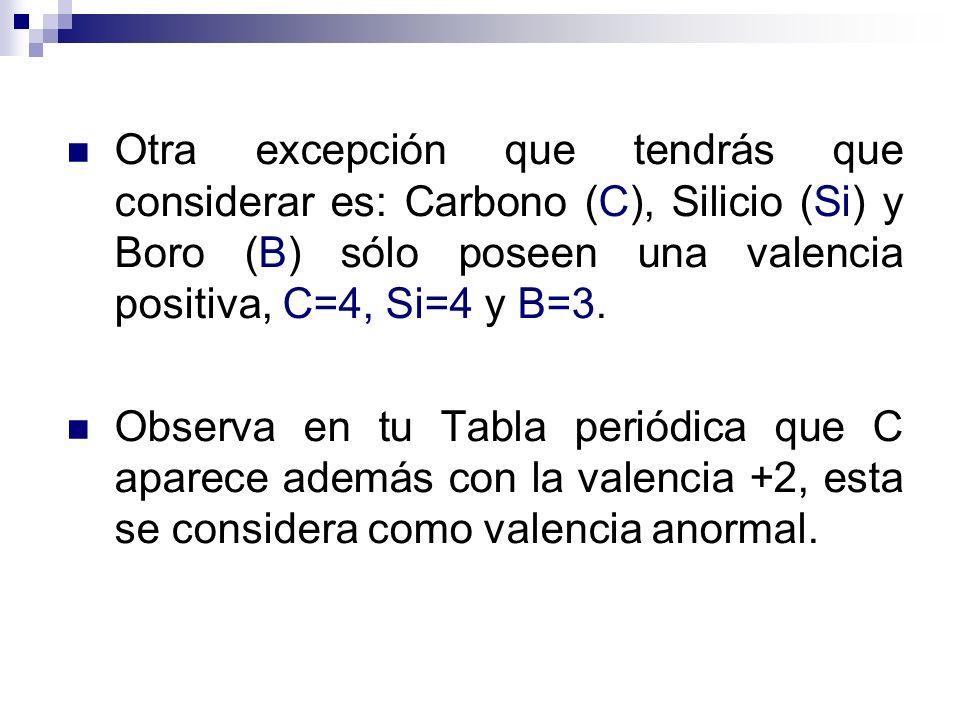 Otra excepción que tendrás que considerar es: Carbono (C), Silicio (Si) y Boro (B) sólo poseen una valencia positiva, C=4, Si=4 y B=3. Observa en tu T