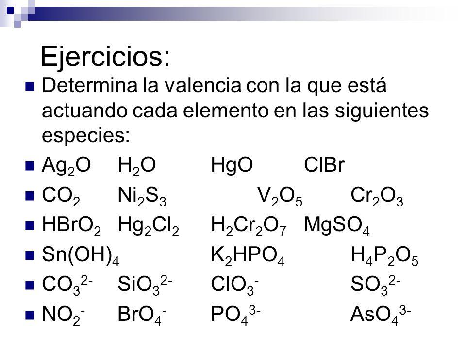 Ejercicios: Determina la valencia con la que está actuando cada elemento en las siguientes especies: Ag 2 OH 2 OHgOClBr CO 2 Ni 2 S 3 V 2 O 5 Cr 2 O 3