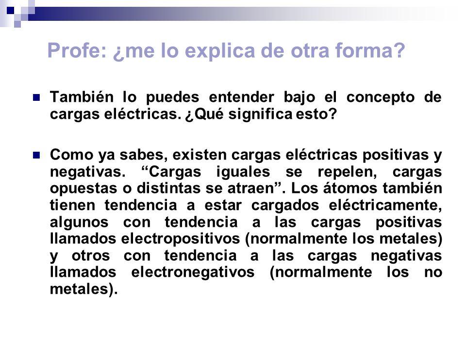 Profe: ¿me lo explica de otra forma? También lo puedes entender bajo el concepto de cargas eléctricas. ¿Qué significa esto? Como ya sabes, existen car