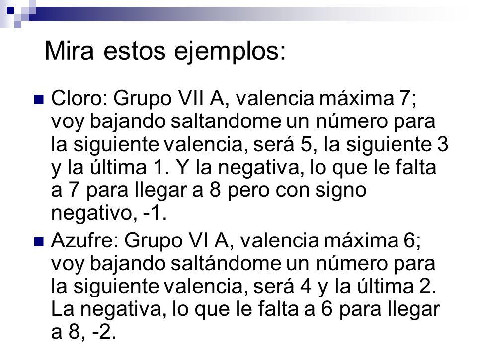 Mira estos ejemplos: Cloro: Grupo VII A, valencia máxima 7; voy bajando saltandome un número para la siguiente valencia, será 5, la siguiente 3 y la ú