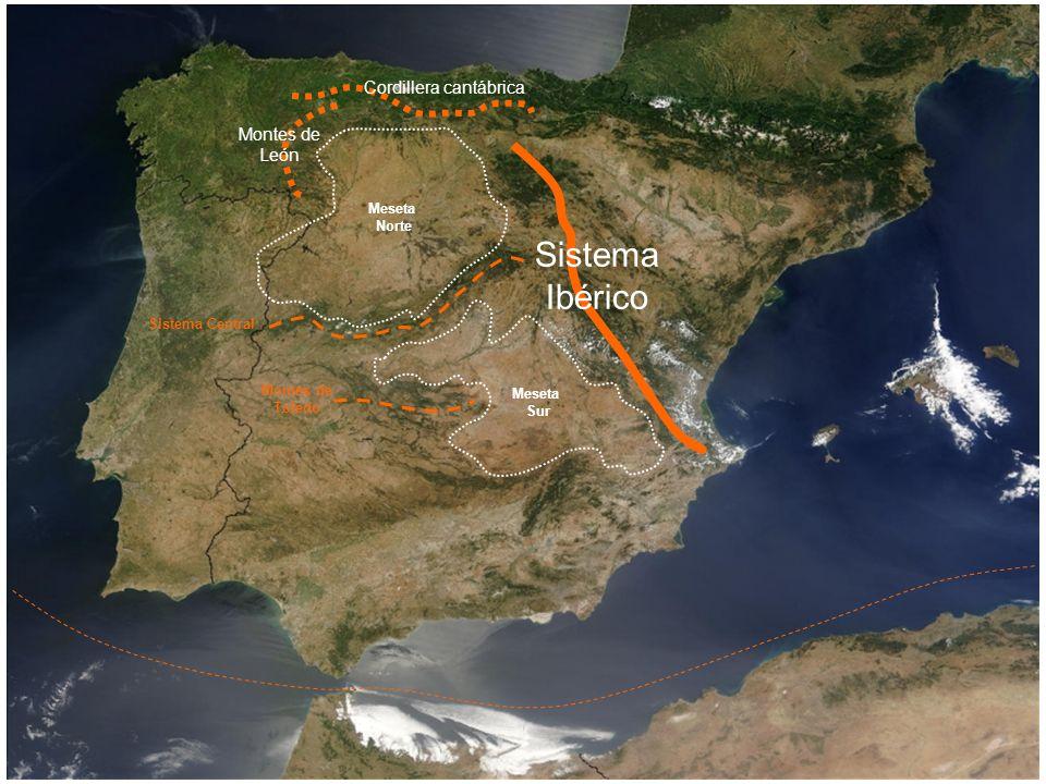 Meseta Norte Meseta Sur Montes de Toledo Montes de León Cordillera cantábrica Sistema Central Sistema Ibérico