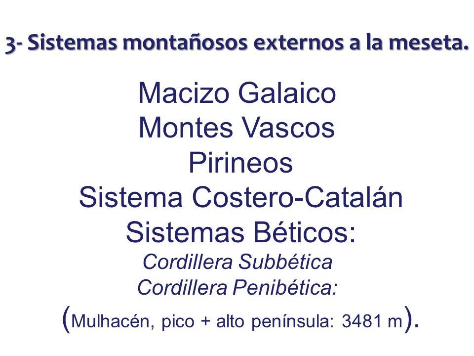 3- Sistemas montañosos externos a la meseta. Macizo Galaico Montes Vascos Pirineos Sistema Costero-Catalán Sistemas Béticos: Cordillera Subbética Cord
