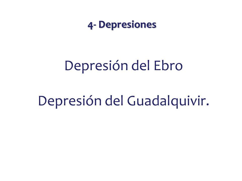 4- Depresiones Depresión del Ebro Depresión del Guadalquivir.