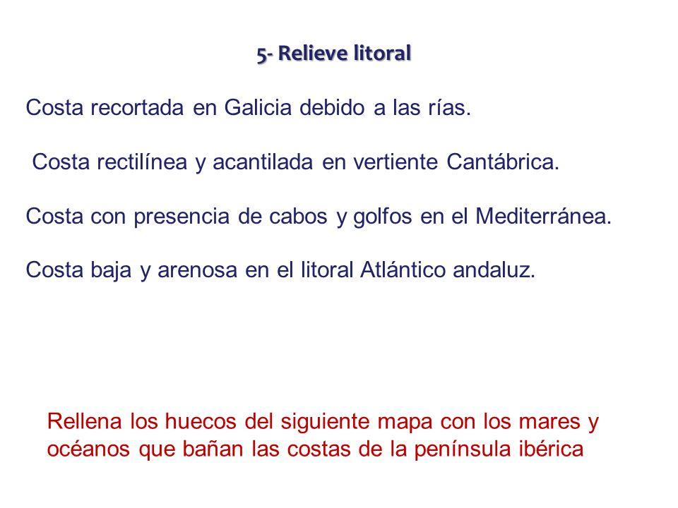 5- Relieve litoral Costa recortada en Galicia debido a las rías. Costa rectilínea y acantilada en vertiente Cantábrica. Costa con presencia de cabos y