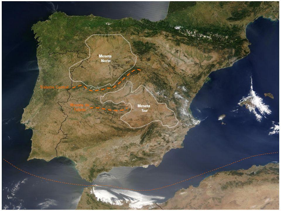 2- Cordilleras y macizos montañosos que rodean la meseta: Montes de León Cordillera Cantábrica Sistema Ibérico Sierra Morena.