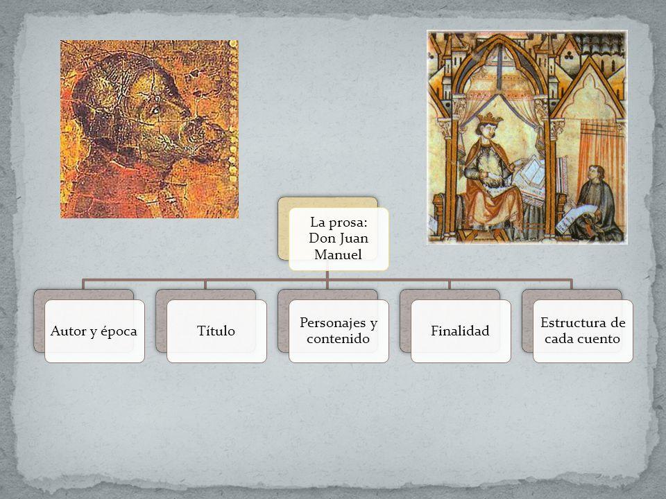 La prosa: Don Juan Manuel Autor y épocaTítulo Personajes y contenido Finalidad Estructura de cada cuento