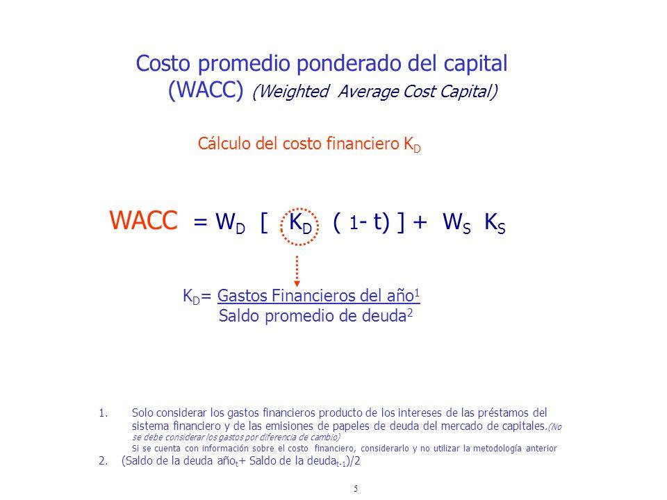 5 WACC = W D [ K D ( 1 - t) ] + W S K S Costo promedio ponderado del capital (WACC) (Weighted Average Cost Capital) K D = Gastos Financieros del año 1