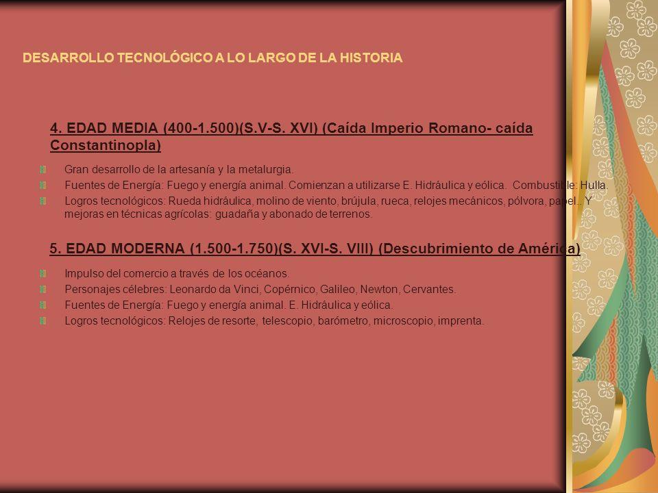 DESARROLLO TECNOLÓGICO A LO LARGO DE LA HISTORIA 4. EDAD MEDIA (400-1.500)(S.V-S. XVI) (Caída Imperio Romano- caída Constantinopla) Gran desarrollo de