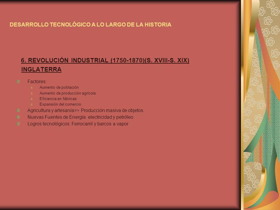 DESARROLLO TECNOLÓGICO A LO LARGO DE LA HISTORIA 6. REVOLUCIÓN INDUSTRIAL (1750-1870)(S. XVIII-S. XIX) INGLATERRA Factores: Aumento de población Aumen