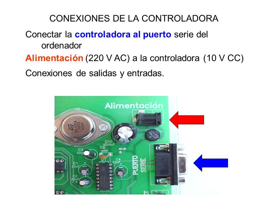 CONEXIONES DE LA CONTROLADORA Alimentación (220 V AC) a la controladora (10 V CC) Conectar la controladora al puerto serie del ordenador Conexiones de