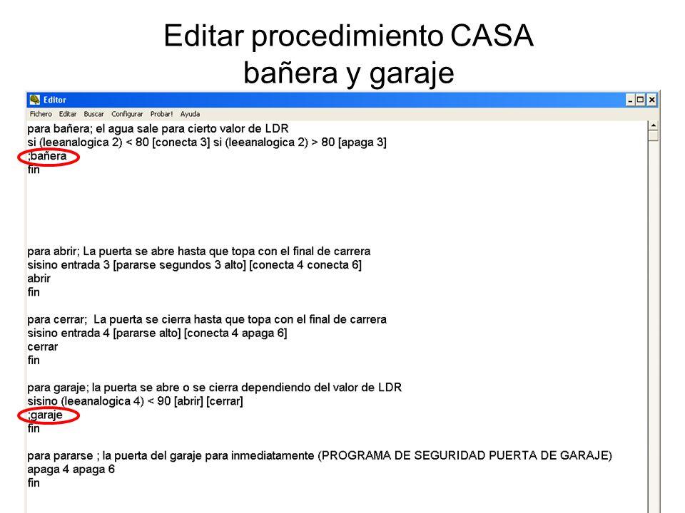 Editar procedimiento CASA bañera y garaje