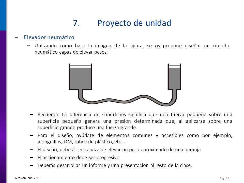 Pág.. 25 Alcorcón, abril 2010 7.Proyecto de unidad – Elevador neumático – Utilizando como base la imagen de la figura, se os propone diseñar un circui