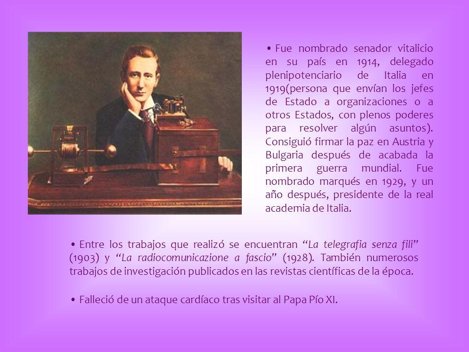 Fue nombrado senador vitalicio en su país en 1914, delegado plenipotenciario de Italia en 1919(persona que envían los jefes de Estado a organizaciones