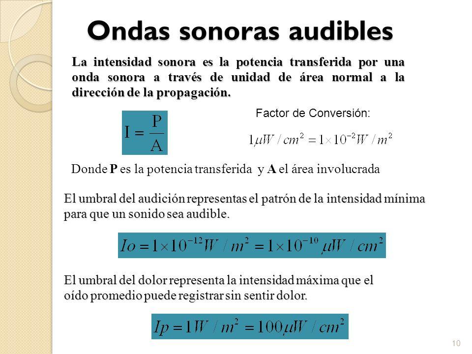 Ondas sonoras audibles 10 La intensidad sonora es la potencia transferida por una onda sonora a través de unidad de área normal a la dirección de la p