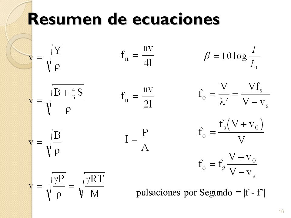 Resumen de ecuaciones 16 pulsaciones por Segundo = |f - f|