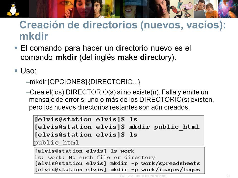 30© 2007 Linux. Todos los derechos reservados. Creación de directorios (nuevos, vacíos): mkdir El comando para hacer un directorio nuevo es el comando