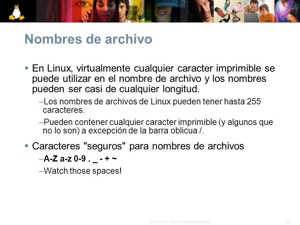 36© 2007 Linux. Todos los derechos reservados. Nombres de archivo En Linux, virtualmente cualquier caracter imprimible se puede utilizar en el nombre