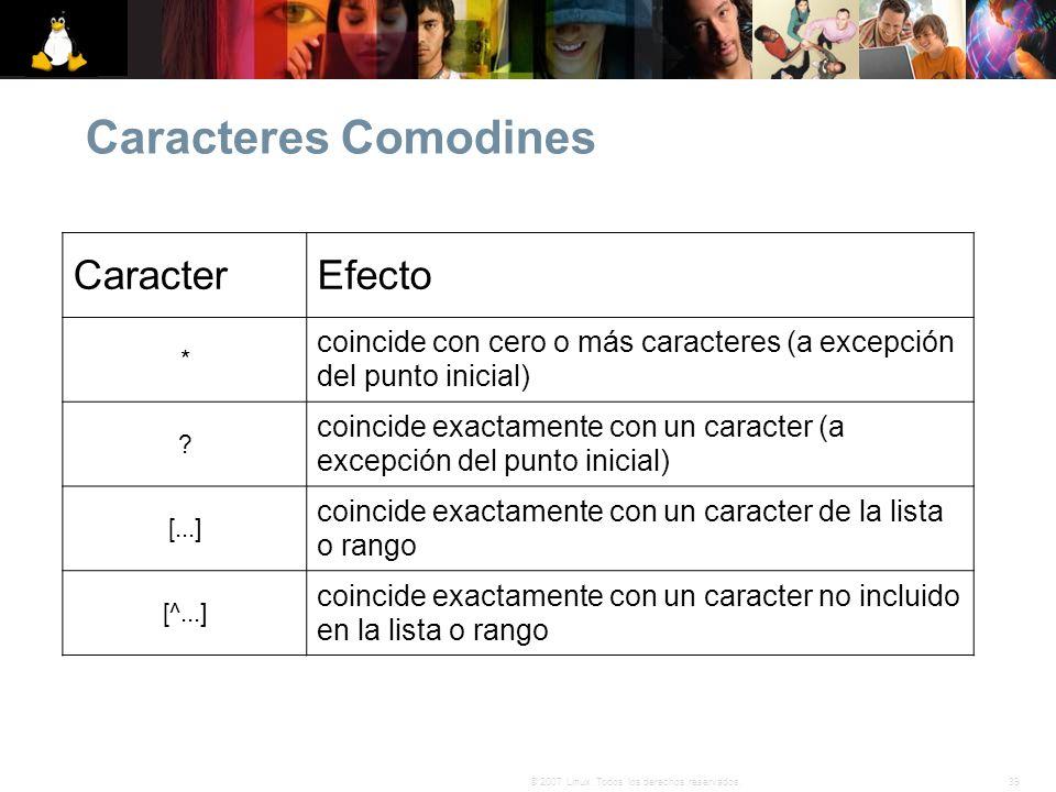 39© 2007 Linux. Todos los derechos reservados. Caracteres Comodines CaracterEfecto * coincide con cero o más caracteres (a excepción del punto inicial