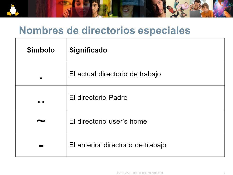 9© 2007 Linux. Todos los derechos reservados. Nombres de directorios especiales SimboloSignificado. El actual directorio de trabajo.. El directorio Pa