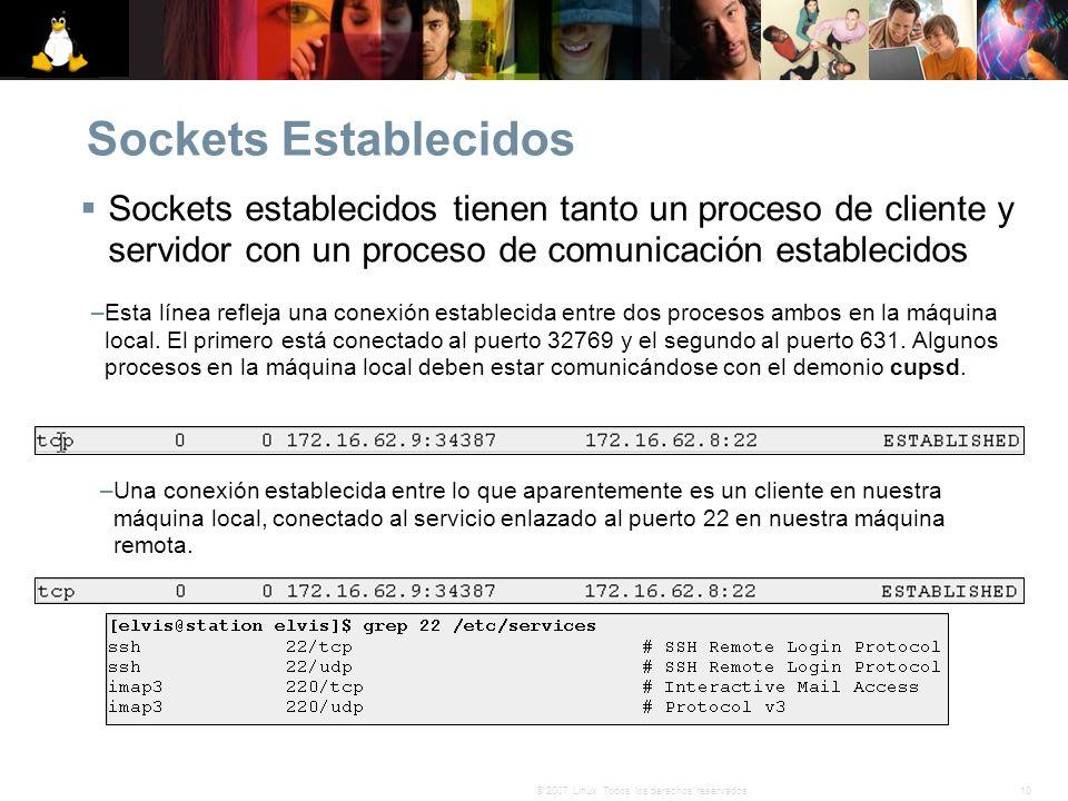 10© 2007 Linux. Todos los derechos reservados. Sockets Establecidos Sockets establecidos tienen tanto un proceso de cliente y servidor con un proceso