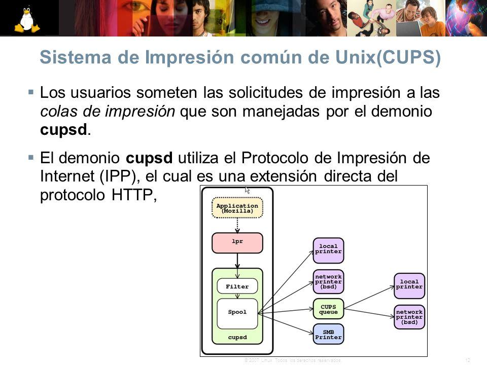 12© 2007 Linux. Todos los derechos reservados. Sistema de Impresión común de Unix(CUPS) Los usuarios someten las solicitudes de impresión a las colas