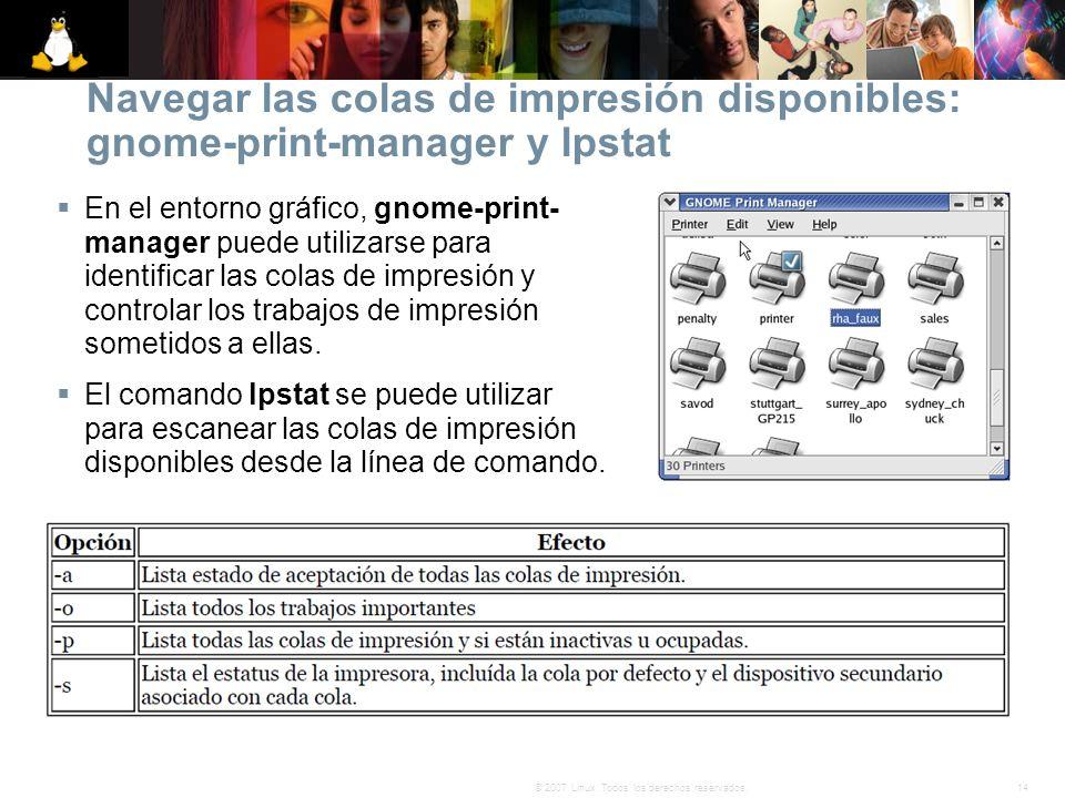 14© 2007 Linux. Todos los derechos reservados. Navegar las colas de impresión disponibles: gnome-print-manager y lpstat En el entorno gráfico, gnome-p