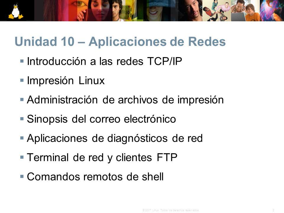 2© 2007 Linux. Todos los derechos reservados. Unidad 10 – Aplicaciones de Redes Introducción a las redes TCP/IP Impresión Linux Administración de arch