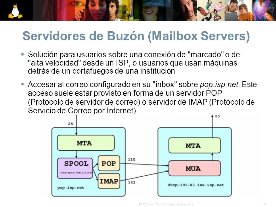 23© 2007 Linux. Todos los derechos reservados. Servidores de Buzón (Mailbox Servers) Solución para usuarios sobre una conexión de