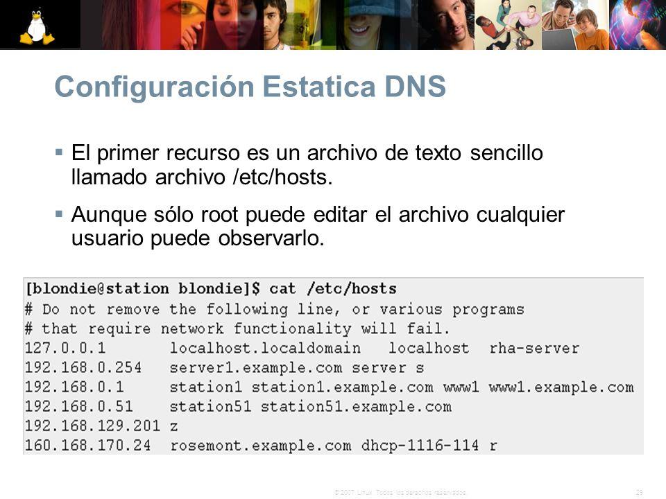 29© 2007 Linux. Todos los derechos reservados. Configuración Estatica DNS El primer recurso es un archivo de texto sencillo llamado archivo /etc/hosts