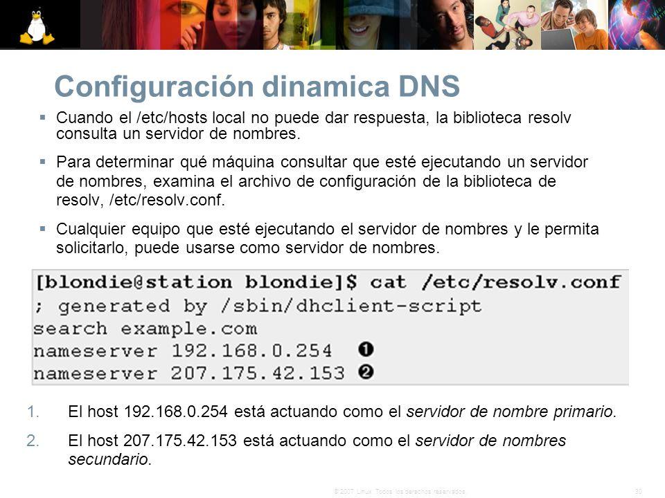 30© 2007 Linux. Todos los derechos reservados. Configuración dinamica DNS Cuando el /etc/hosts local no puede dar respuesta, la biblioteca resolv cons