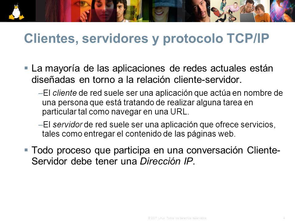 4© 2007 Linux. Todos los derechos reservados. Clientes, servidores y protocolo TCP/IP La mayoría de las aplicaciones de redes actuales están diseñadas