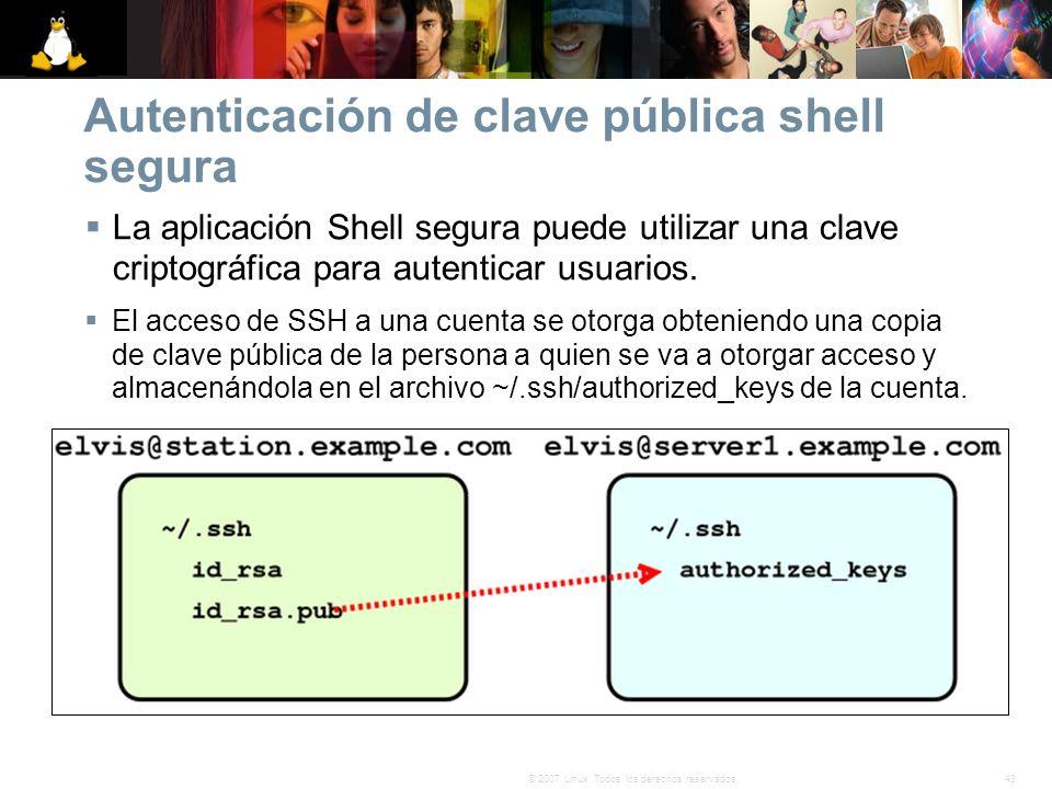 43© 2007 Linux. Todos los derechos reservados. Autenticación de clave pública shell segura La aplicación Shell segura puede utilizar una clave criptog