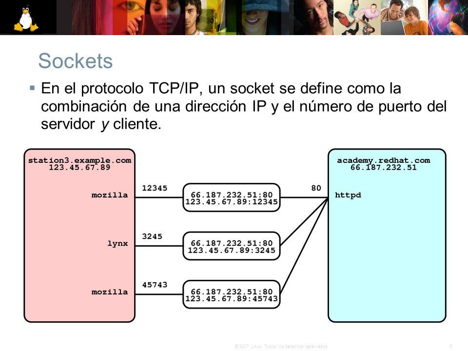 6© 2007 Linux. Todos los derechos reservados. Sockets En el protocolo TCP/IP, un socket se define como la combinación de una dirección IP y el número