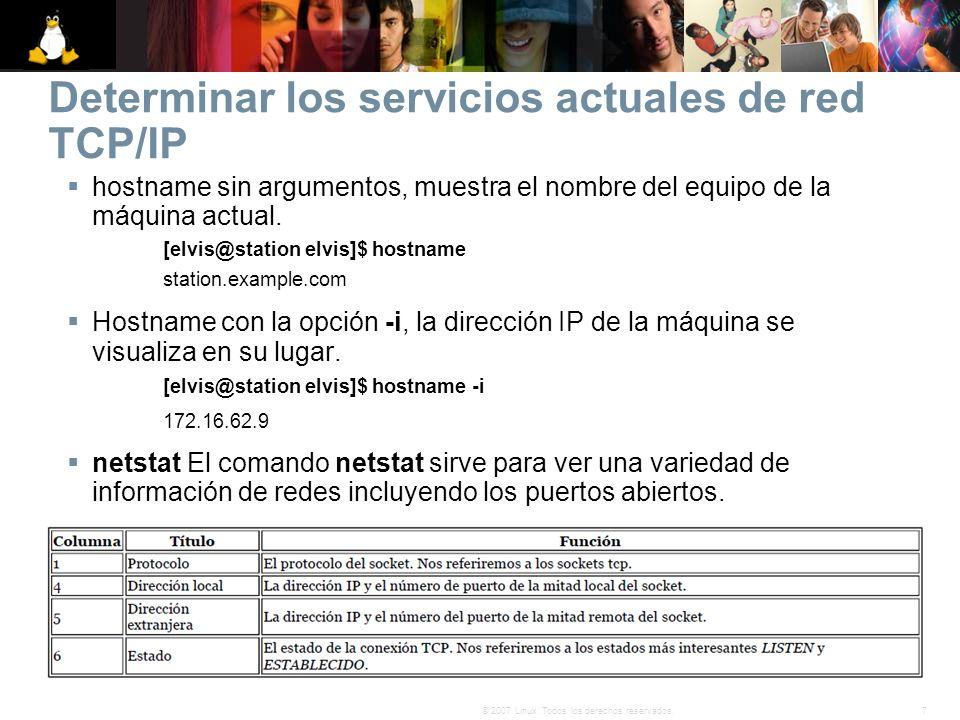 7© 2007 Linux. Todos los derechos reservados. Determinar los servicios actuales de red TCP/IP hostname sin argumentos, muestra el nombre del equipo de