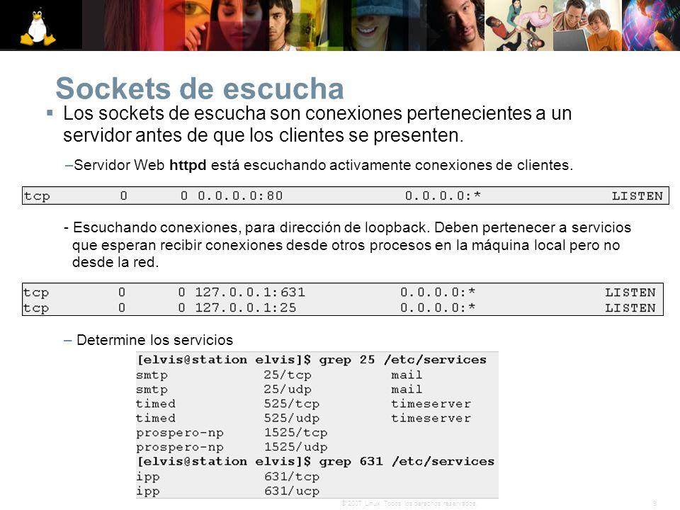 9© 2007 Linux. Todos los derechos reservados. Sockets de escucha Los sockets de escucha son conexiones pertenecientes a un servidor antes de que los c