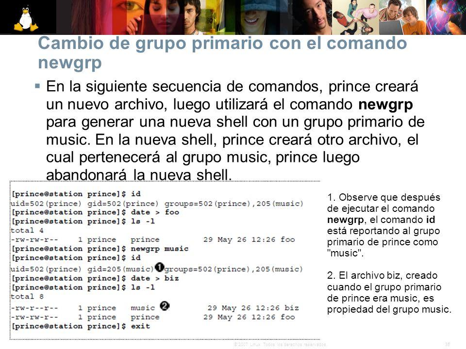 36© 2007 Linux. Todos los derechos reservados. Cambio de grupo primario con el comando newgrp En la siguiente secuencia de comandos, prince creará un