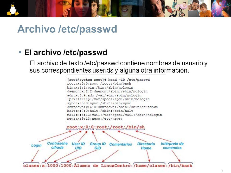 6© 2007 Linux. Todos los derechos reservados. Archivo /etc/passwd El archivo /etc/passwd El archivo de texto /etc/passwd contiene nombres de usuario y